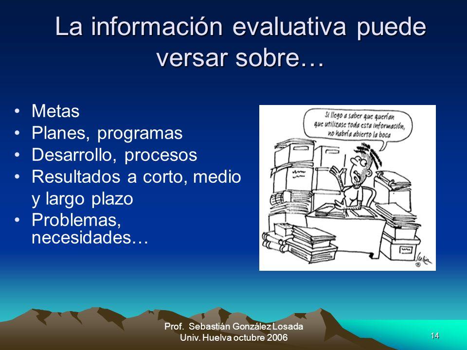 La información evaluativa puede versar sobre…