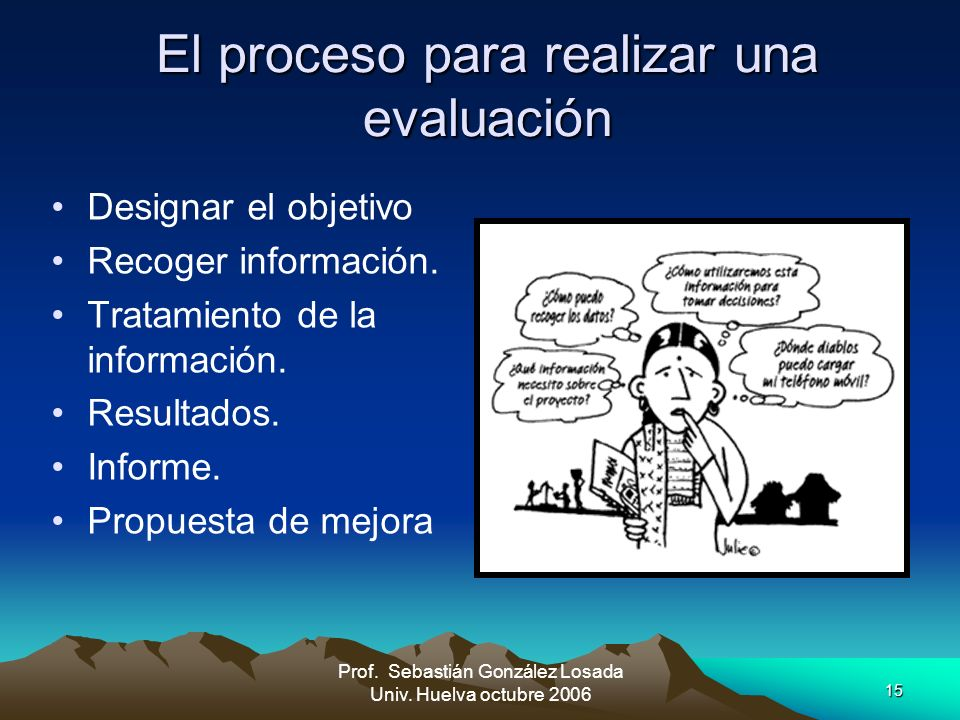 El proceso para realizar una evaluación