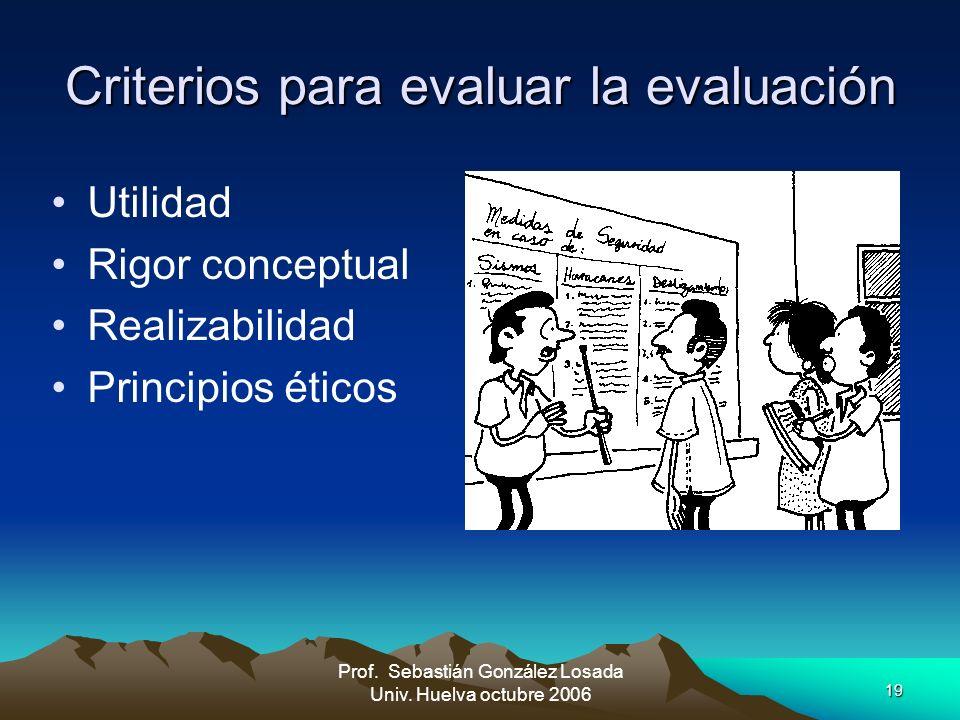 Criterios para evaluar la evaluación
