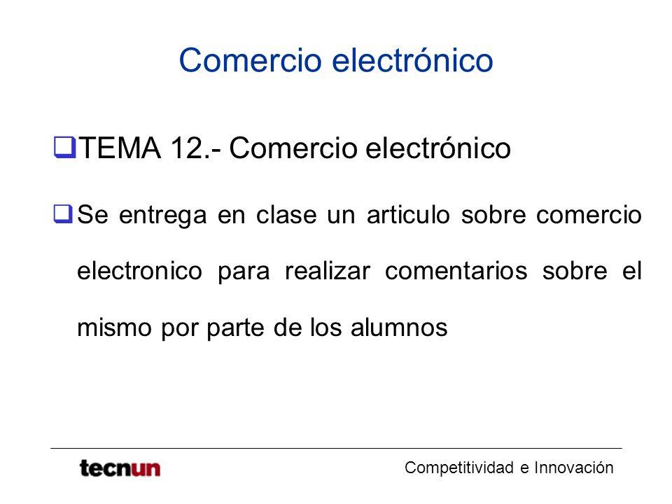 Comercio electrónico TEMA 12.- Comercio electrónico