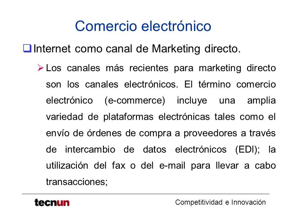 Comercio electrónico Internet como canal de Marketing directo.