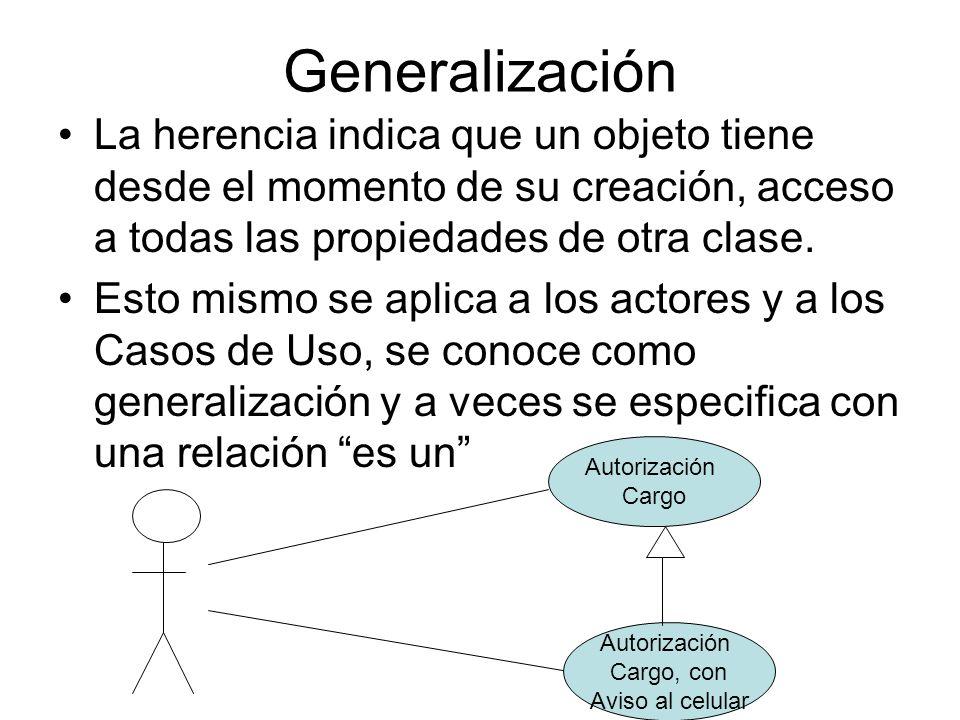 Generalización La herencia indica que un objeto tiene desde el momento de su creación, acceso a todas las propiedades de otra clase.