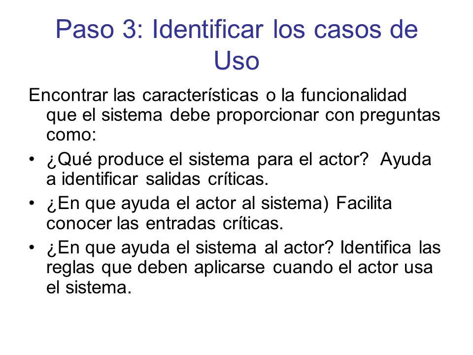 Paso 3: Identificar los casos de Uso