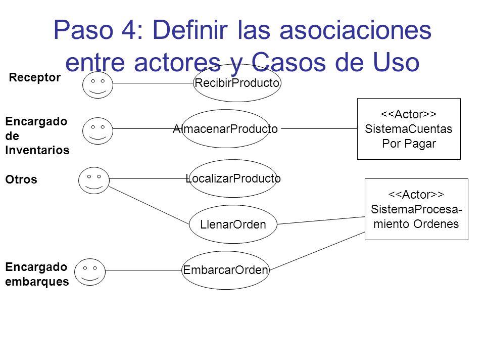 Paso 4: Definir las asociaciones entre actores y Casos de Uso