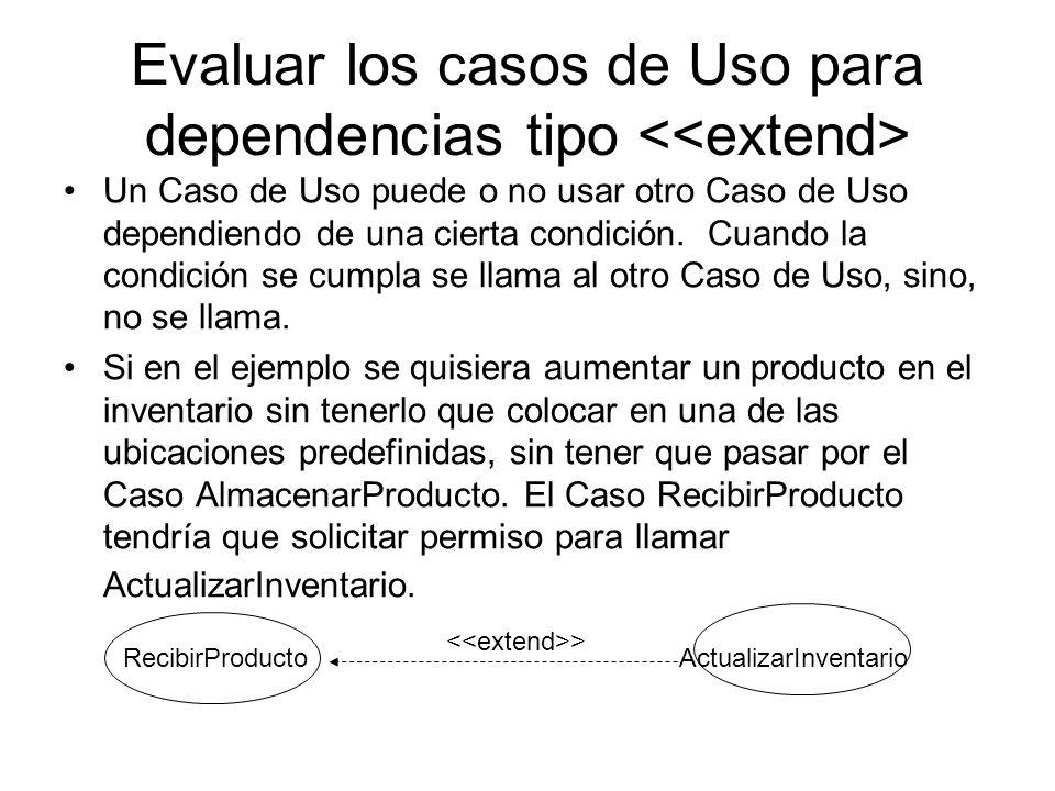 Evaluar los casos de Uso para dependencias tipo <<extend>