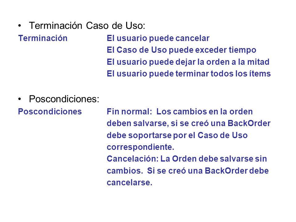 Terminación Caso de Uso: