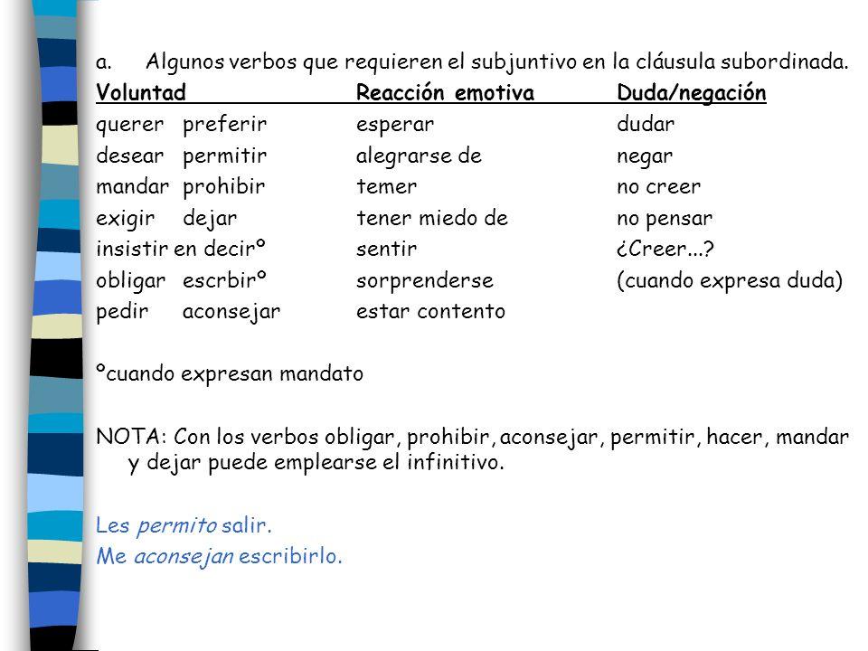 a. Algunos verbos que requieren el subjuntivo en la cláusula subordinada.