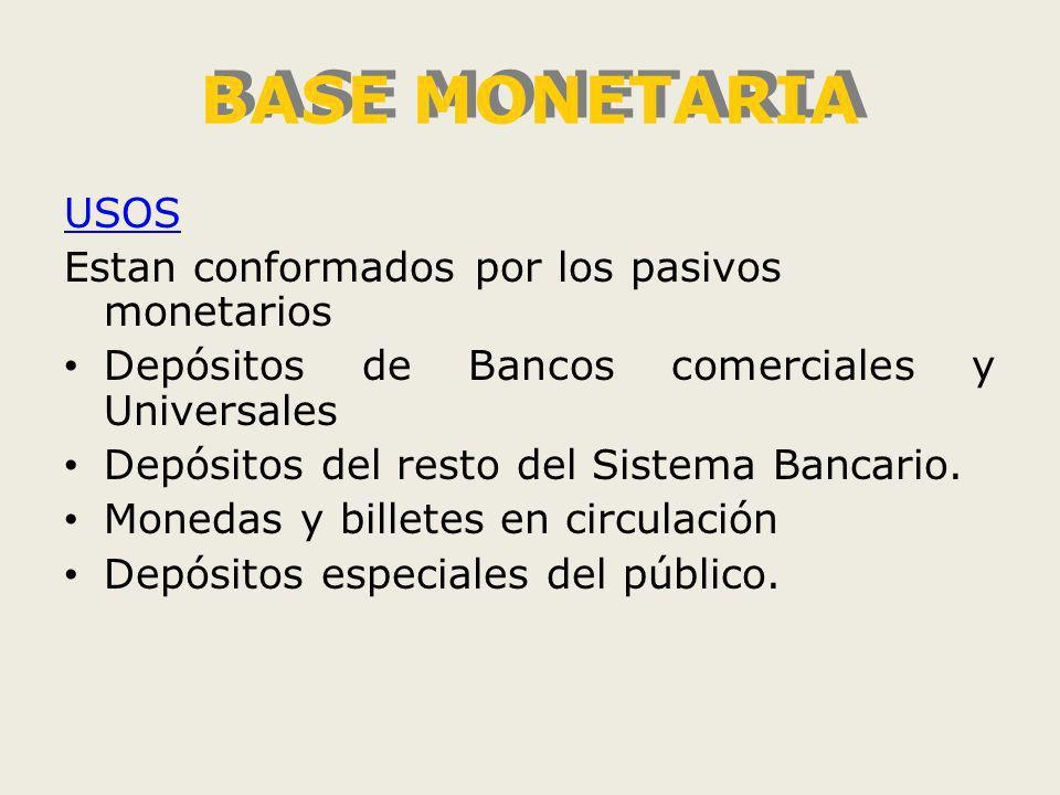 BASE MONETARIA USOS Estan conformados por los pasivos monetarios