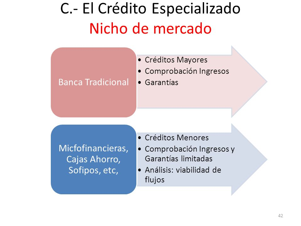 C.- El Crédito Especializado Nicho de mercado