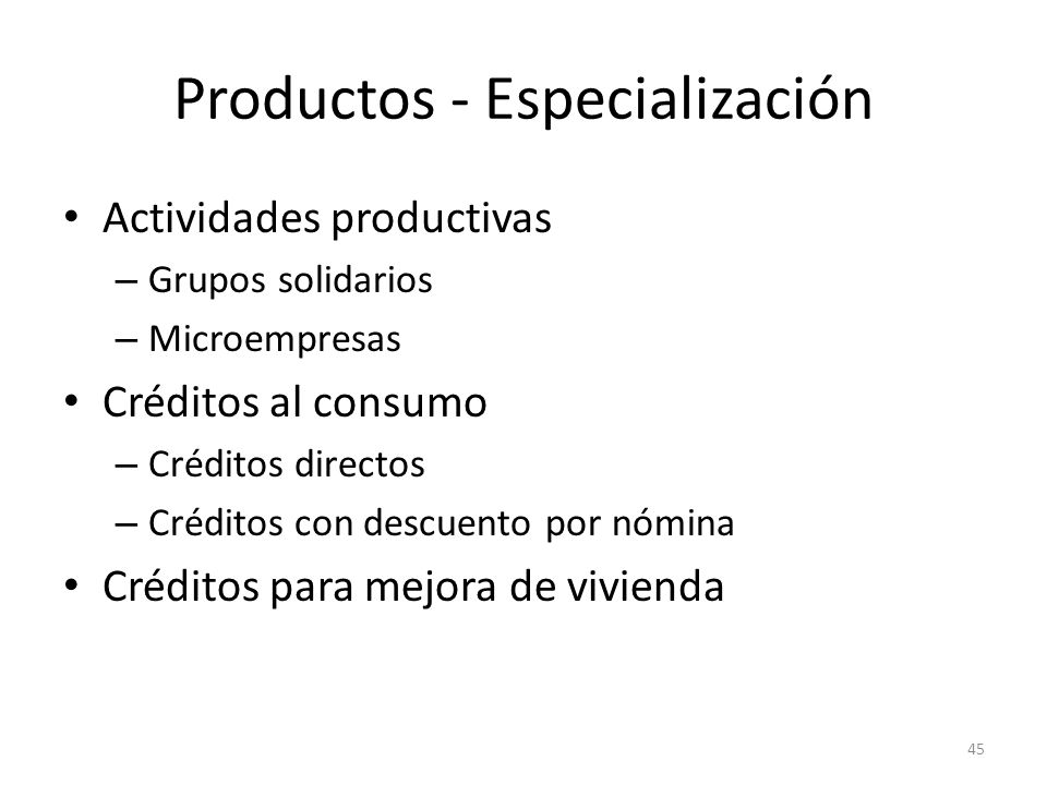 Productos - Especialización
