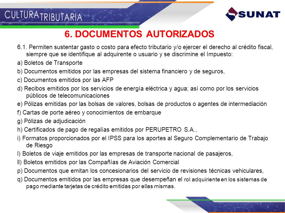 6. DOCUMENTOS AUTORIZADOS