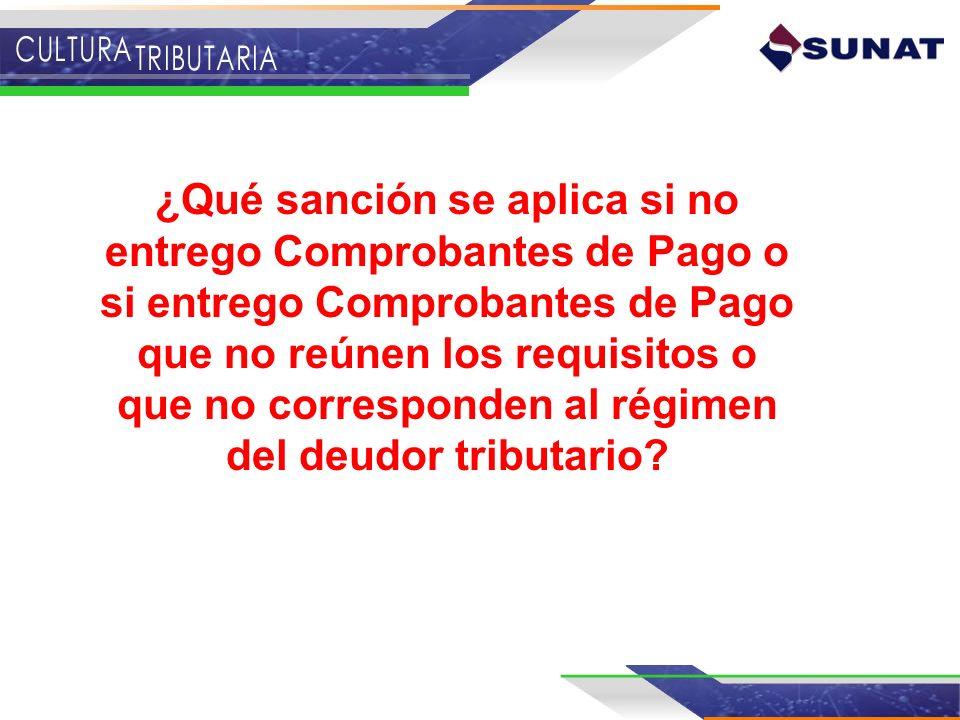 ¿Qué sanción se aplica si no entrego Comprobantes de Pago o si entrego Comprobantes de Pago que no reúnen los requisitos o que no corresponden al régimen del deudor tributario