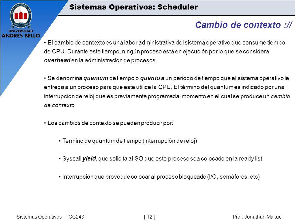 Cambio de contexto :// Sistemas Operativos: Scheduler