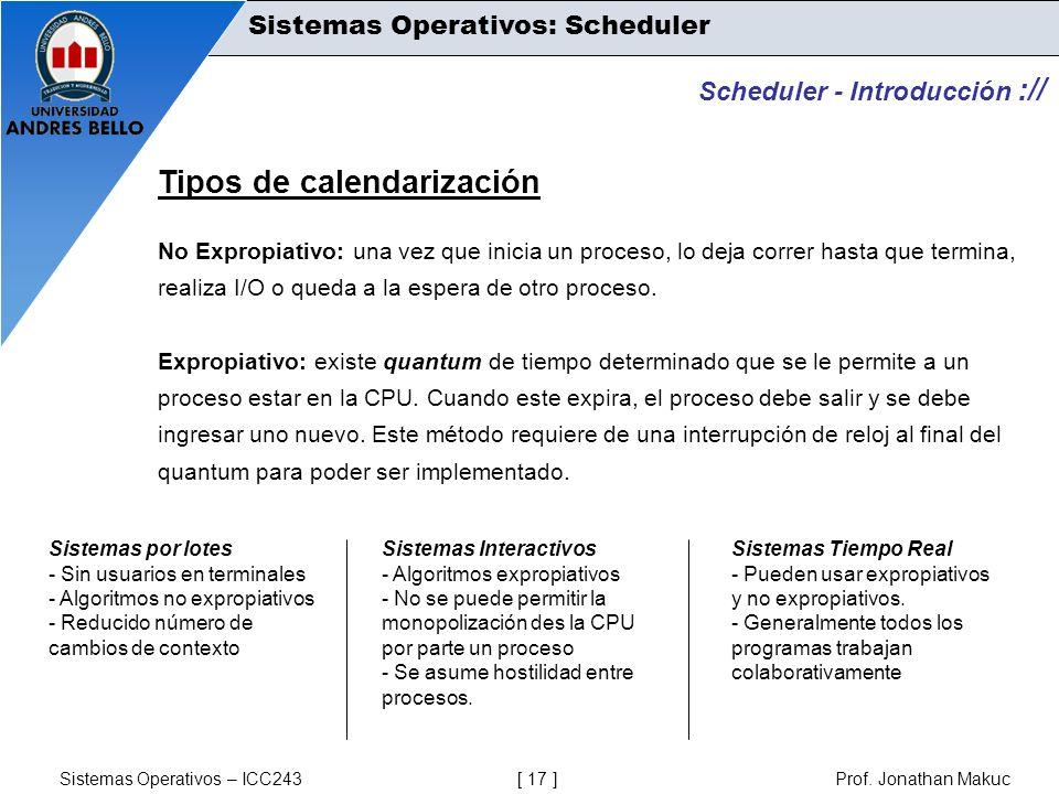 Tipos de calendarización