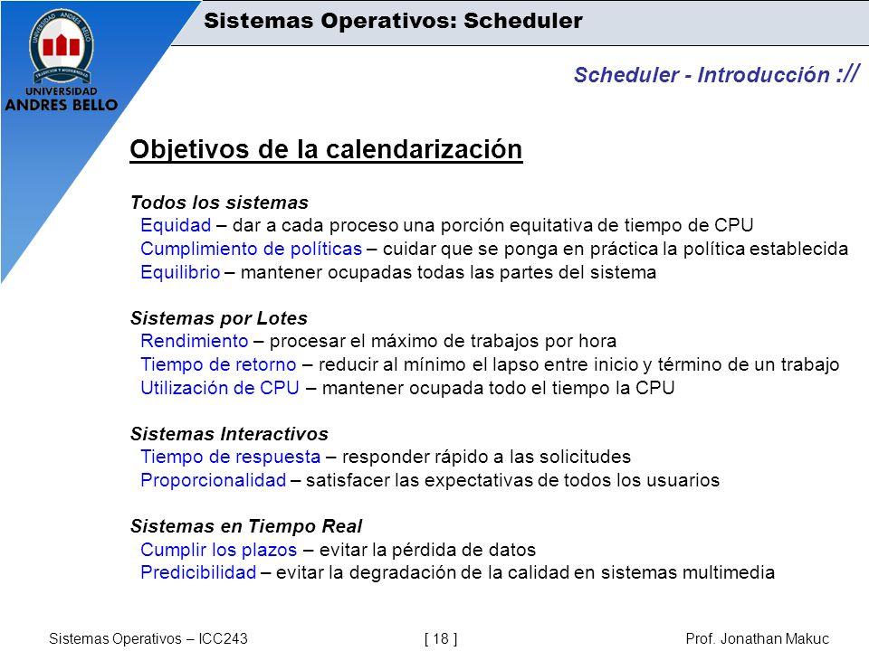 Objetivos de la calendarización