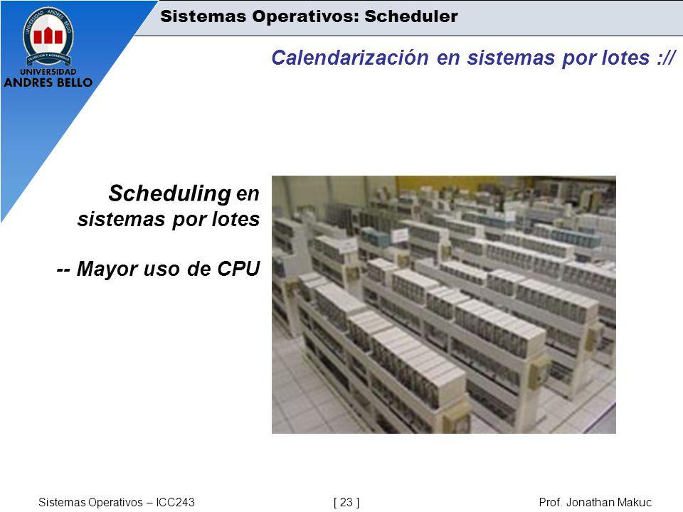 Scheduling en sistemas por lotes