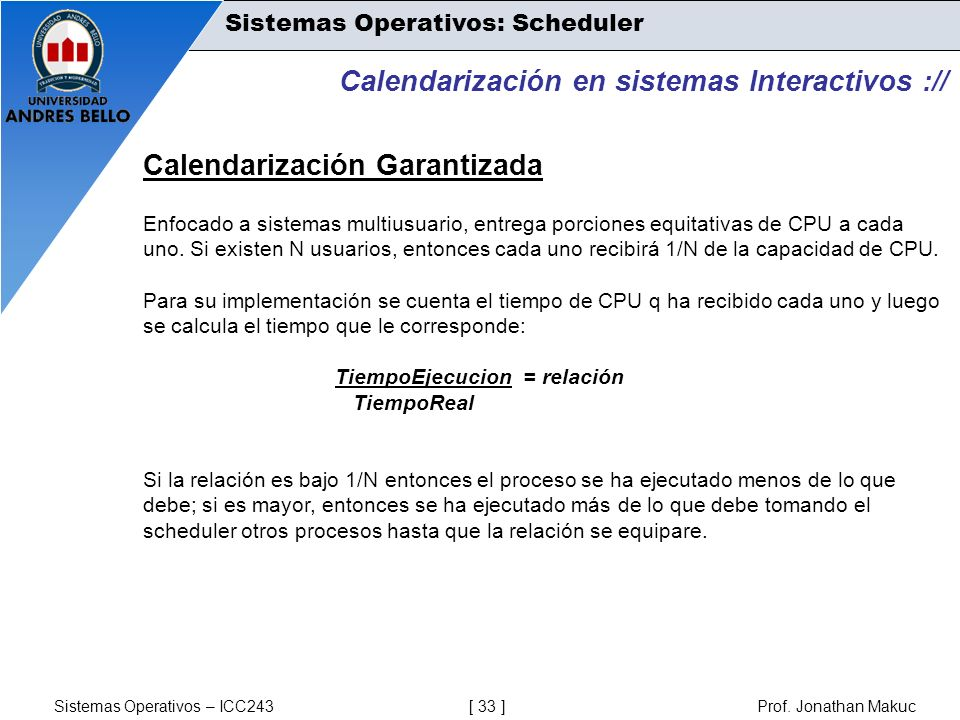 Calendarización en sistemas Interactivos ://