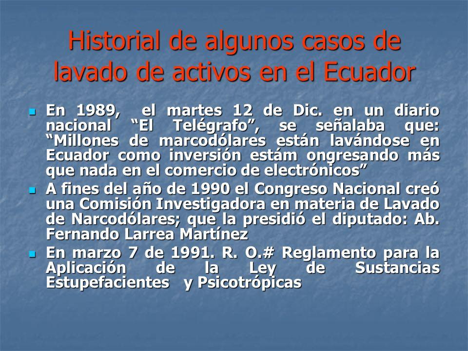 Historial de algunos casos de lavado de activos en el Ecuador