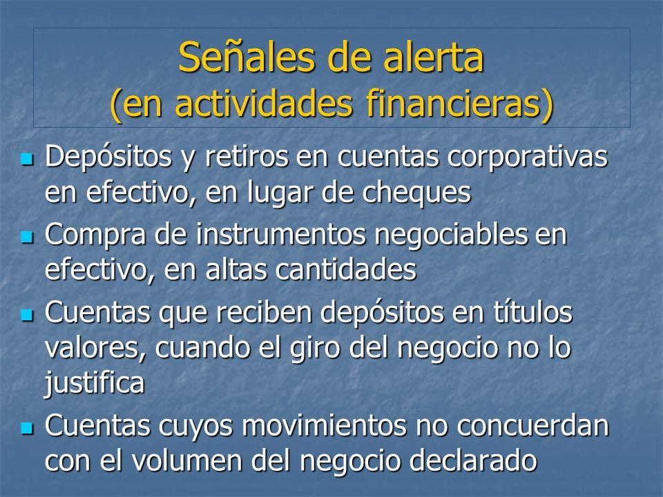 Señales de alerta (en actividades financieras)