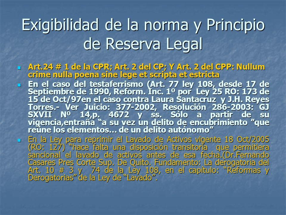 Exigibilidad de la norma y Principio de Reserva Legal