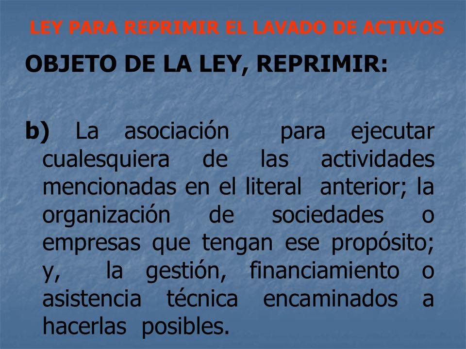 LEY PARA REPRIMIR EL LAVADO DE ACTIVOS