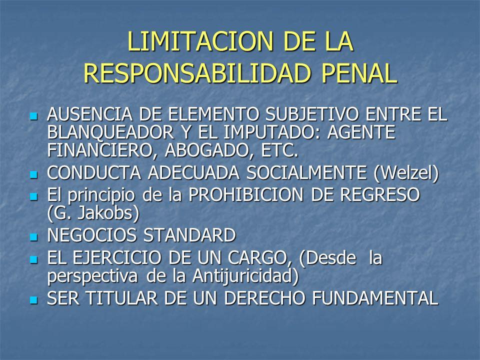 LIMITACION DE LA RESPONSABILIDAD PENAL