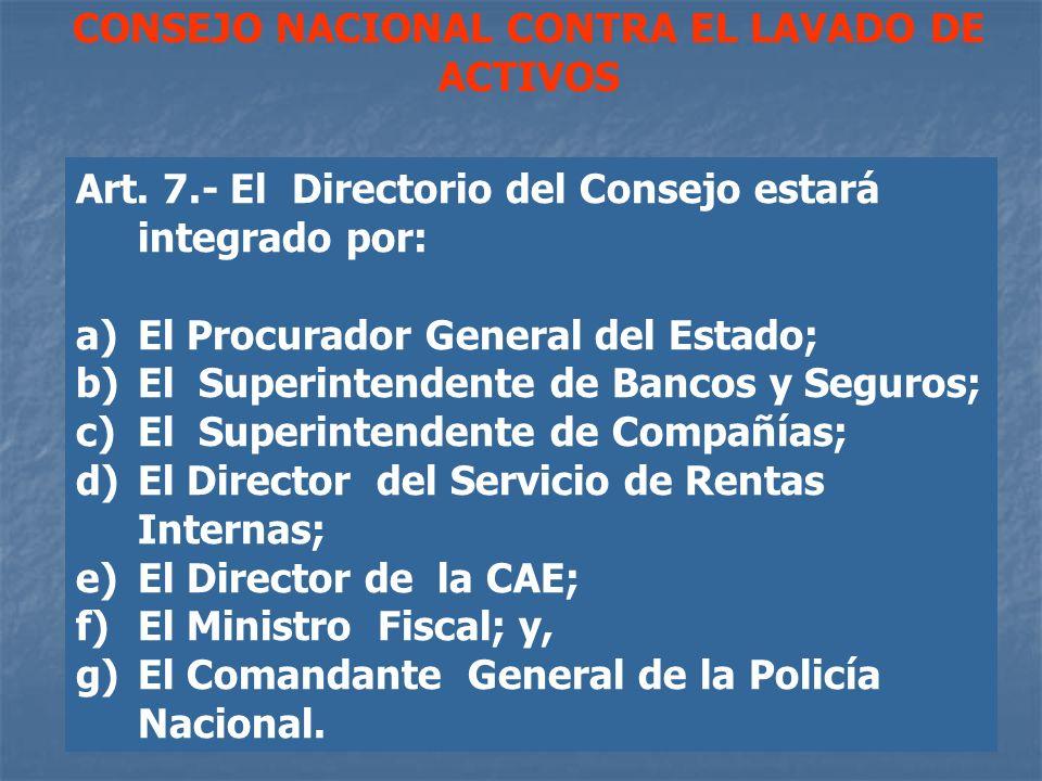 CONSEJO NACIONAL CONTRA EL LAVADO DE ACTIVOS