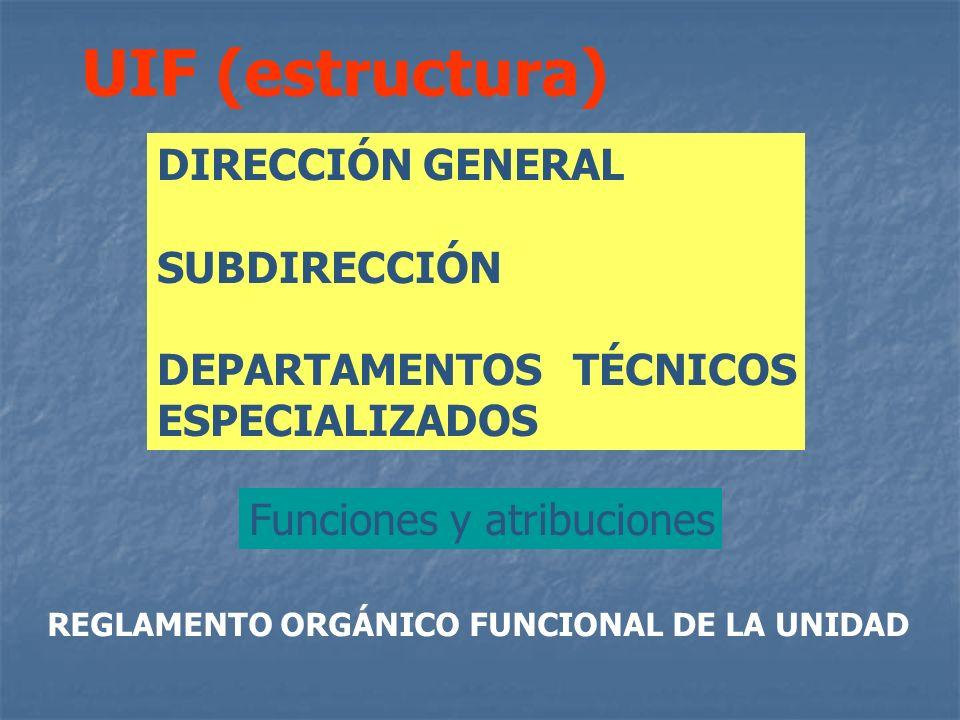 UIF (estructura) DIRECCIÓN GENERAL SUBDIRECCIÓN