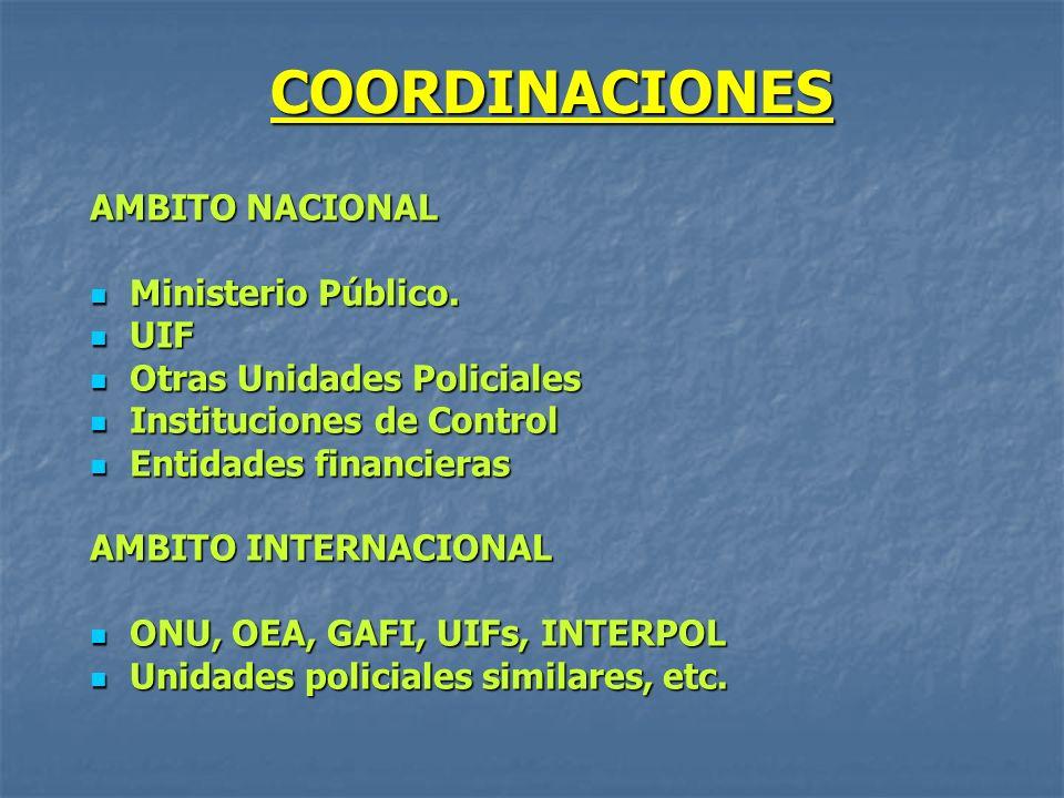 COORDINACIONES AMBITO NACIONAL Ministerio Público. UIF