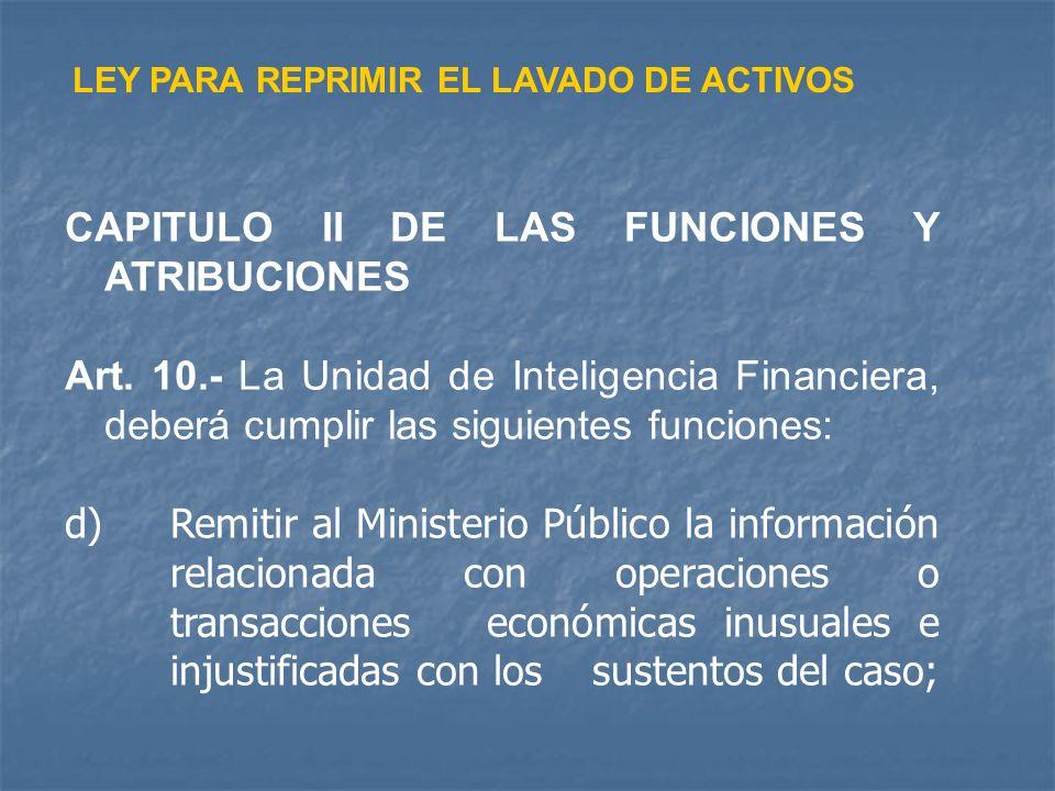 CAPITULO II DE LAS FUNCIONES Y ATRIBUCIONES