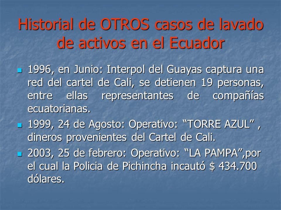 Historial de OTROS casos de lavado de activos en el Ecuador