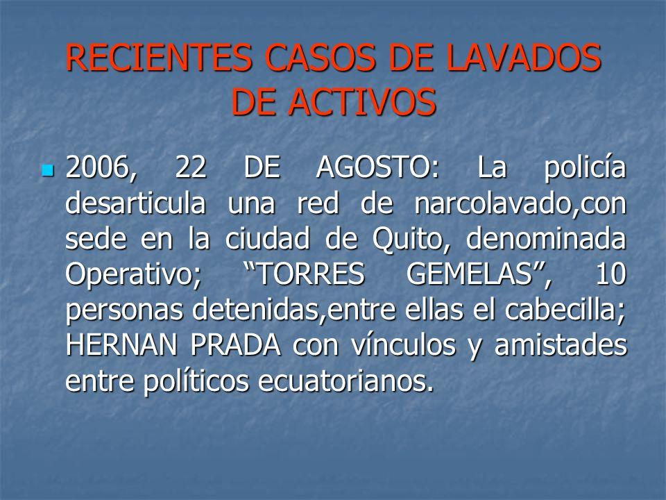 RECIENTES CASOS DE LAVADOS DE ACTIVOS