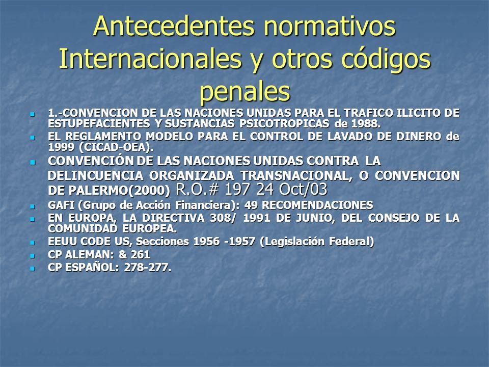 Antecedentes normativos Internacionales y otros códigos penales