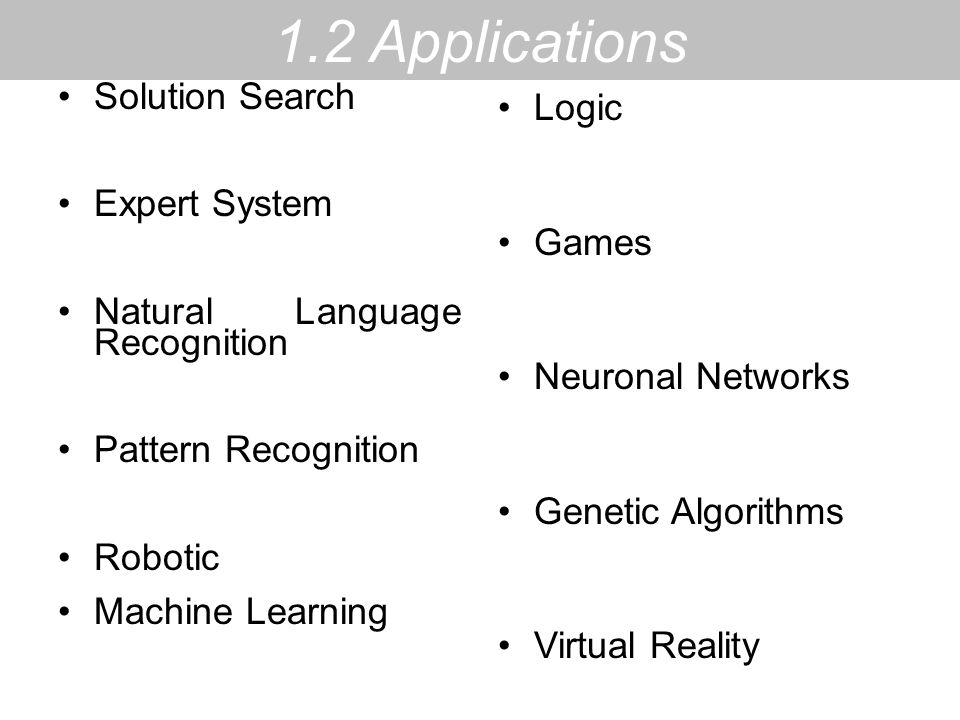 1.2 Applications Solution Search Logic Expert System Games