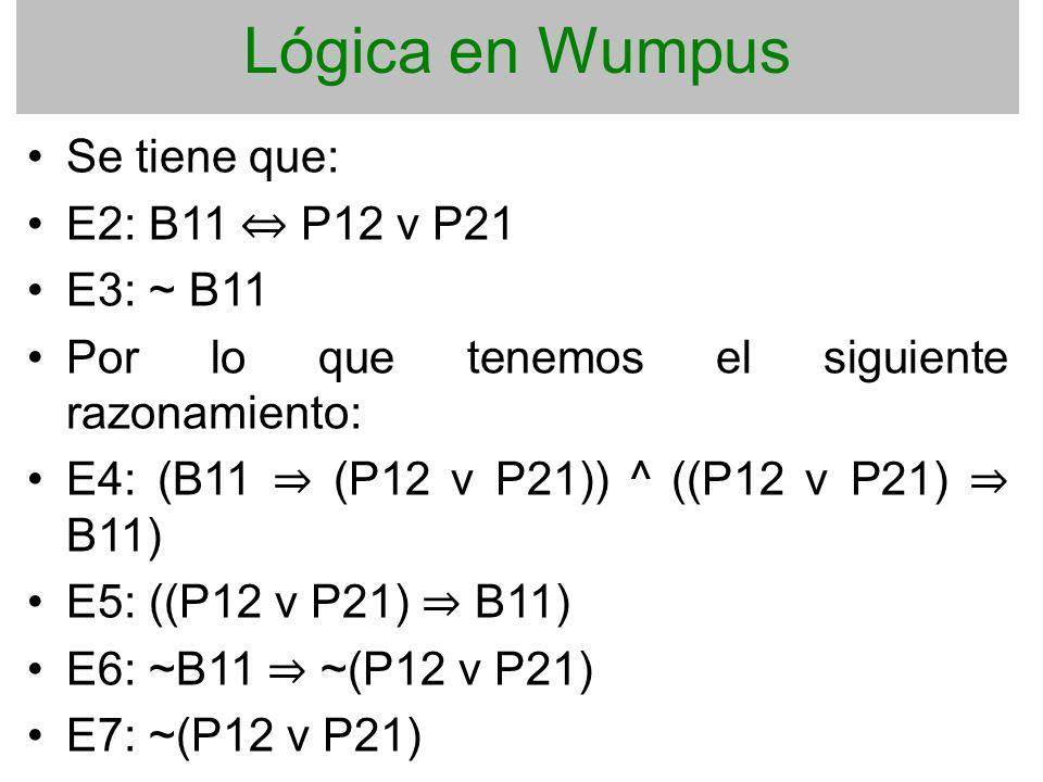 Lógica en Wumpus Se tiene que: E2: B11 ⇔ P12 v P21 E3: ~ B11