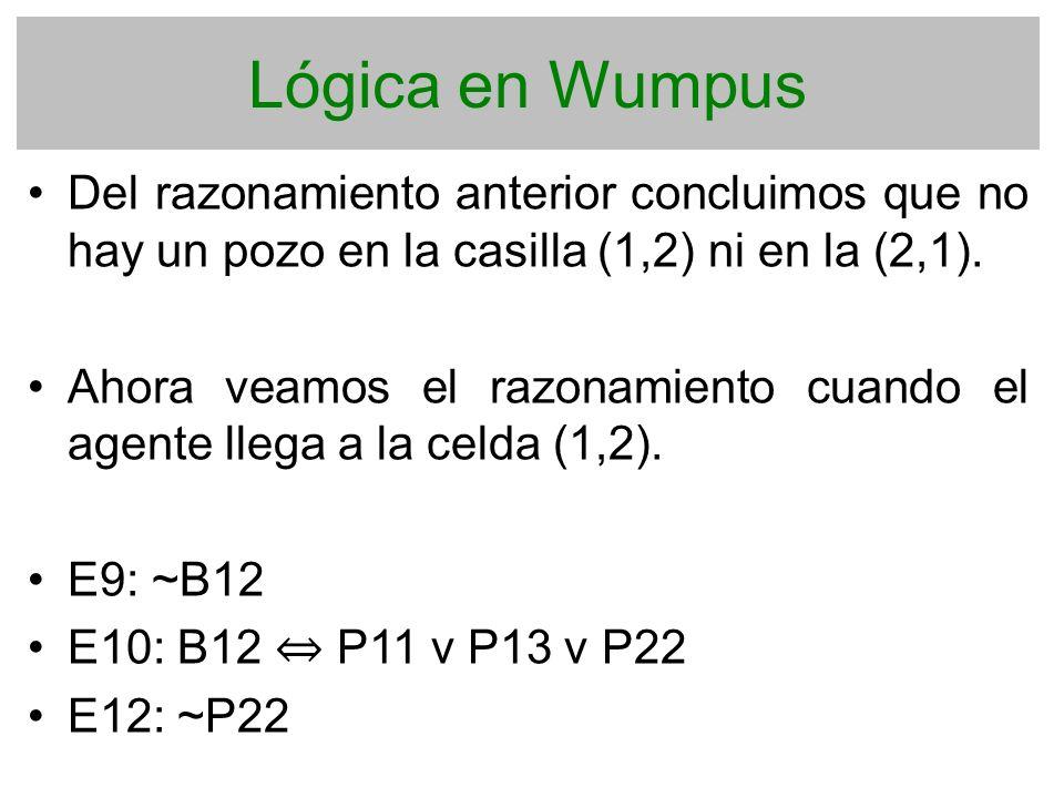 Lógica en Wumpus Del razonamiento anterior concluimos que no hay un pozo en la casilla (1,2) ni en la (2,1).
