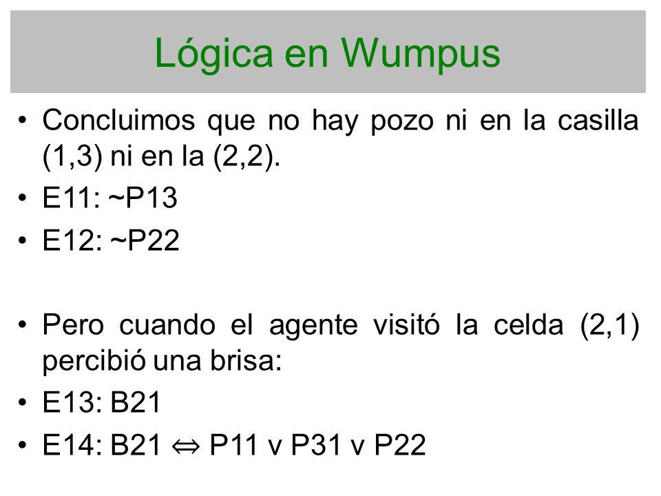 Lógica en Wumpus Concluimos que no hay pozo ni en la casilla (1,3) ni en la (2,2). E11: ~P13. E12: ~P22.