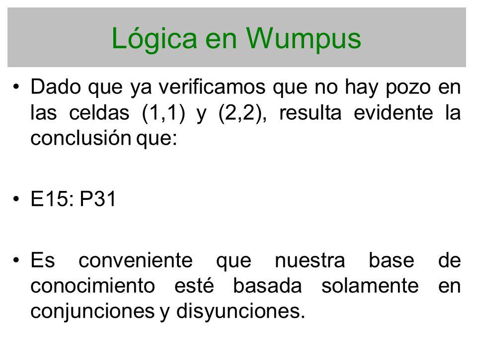Lógica en Wumpus Dado que ya verificamos que no hay pozo en las celdas (1,1) y (2,2), resulta evidente la conclusión que: