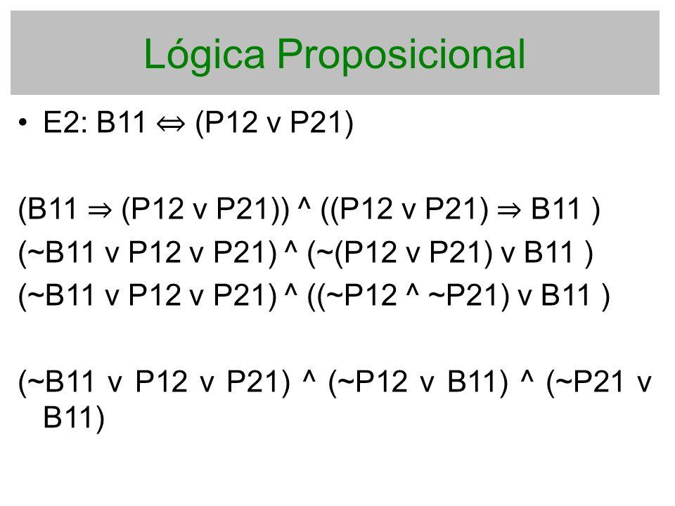 Lógica Proposicional E2: B11 ⇔ (P12 v P21)