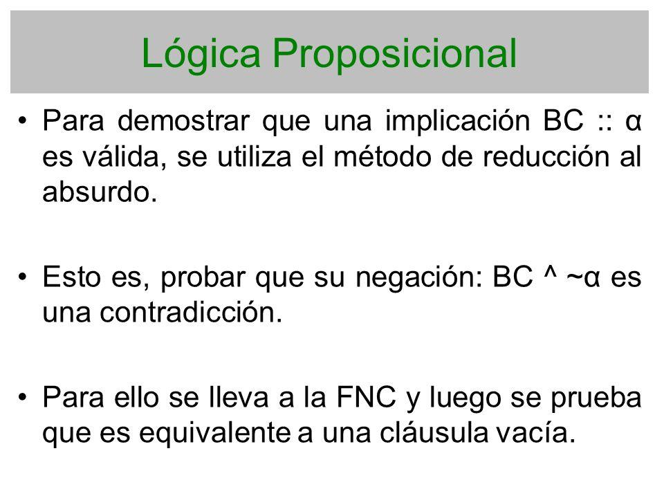 Lógica Proposicional Para demostrar que una implicación BC :: α es válida, se utiliza el método de reducción al absurdo.