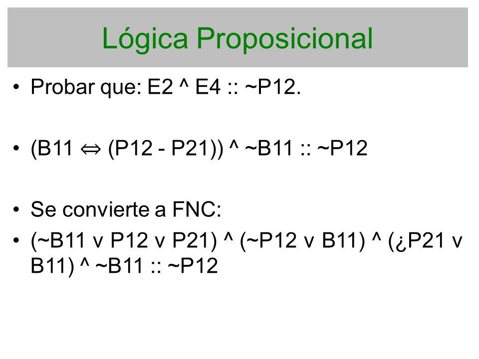 Lógica Proposicional Probar que: E2 ^ E4 :: ~P12.