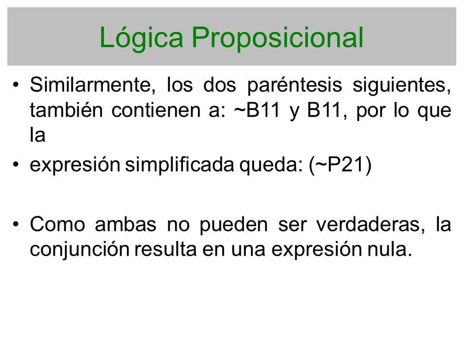 Lógica Proposicional Similarmente, los dos paréntesis siguientes, también contienen a: ~B11 y B11, por lo que la.