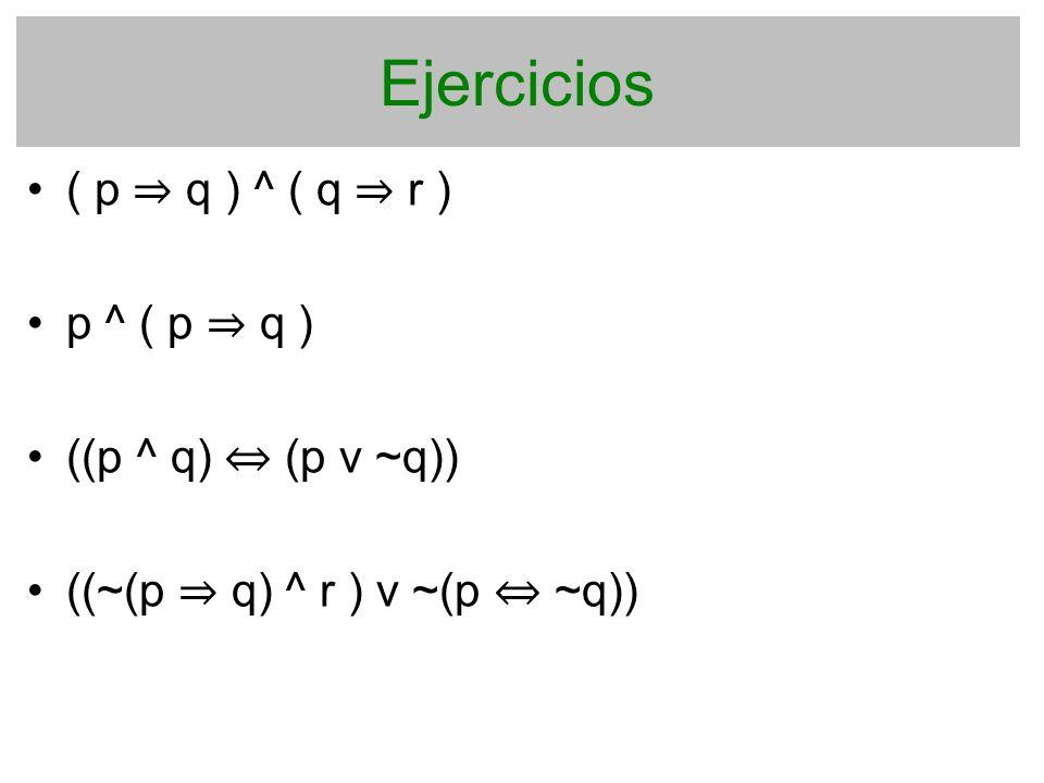Ejercicios ( p ⇒ q ) ^ ( q ⇒ r ) p ^ ( p ⇒ q ) ((p ^ q) ⇔ (p v ~q))