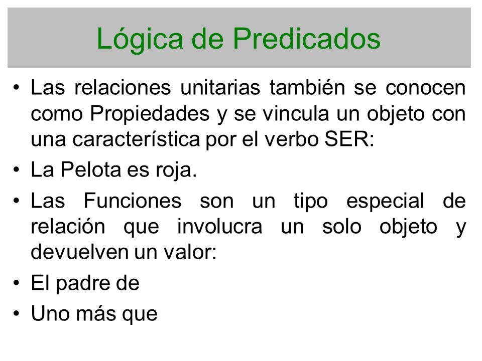 Lógica de Predicados Las relaciones unitarias también se conocen como Propiedades y se vincula un objeto con una característica por el verbo SER: