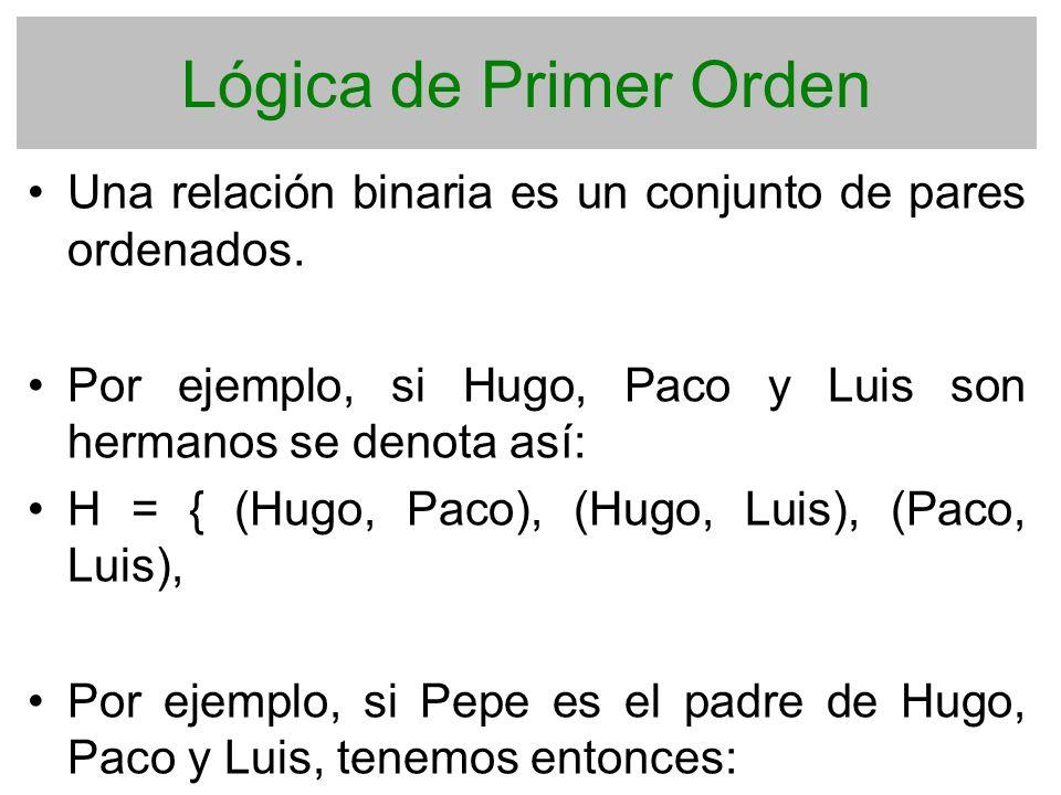 Lógica de Primer Orden Una relación binaria es un conjunto de pares ordenados. Por ejemplo, si Hugo, Paco y Luis son hermanos se denota así: