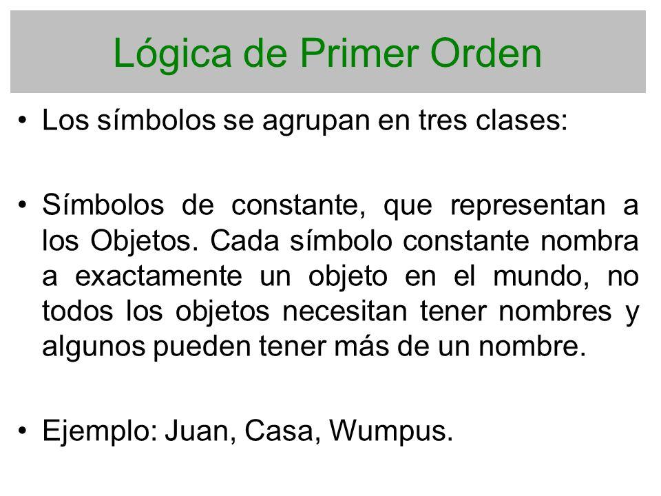 Lógica de Primer Orden Los símbolos se agrupan en tres clases: