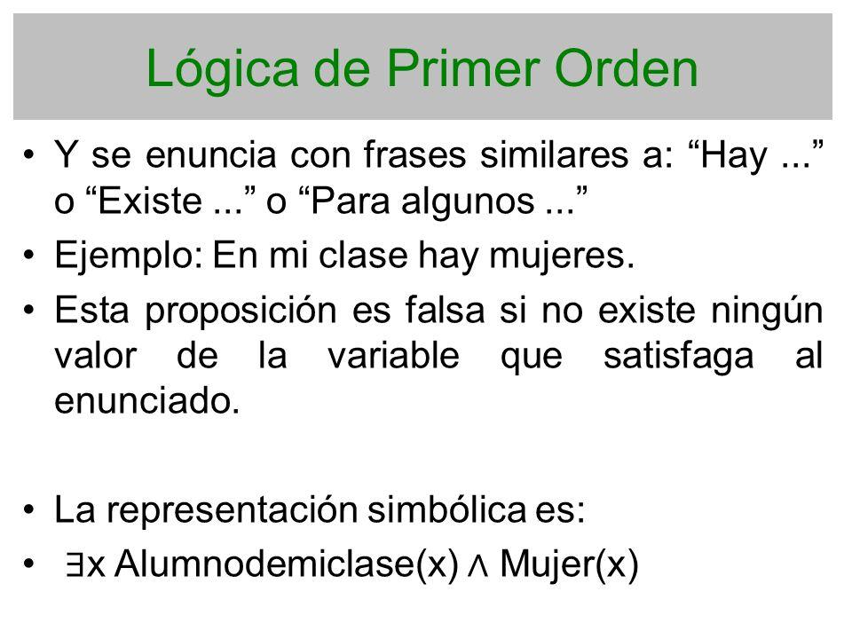 Lógica de Primer Orden Y se enuncia con frases similares a: Hay ... o Existe ... o Para algunos ...