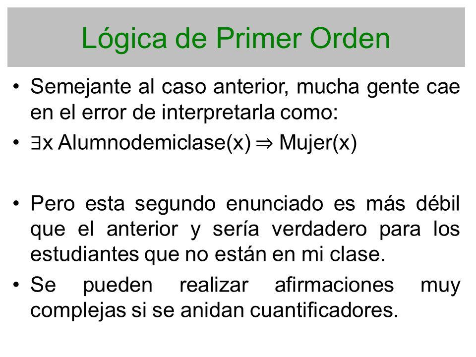 Lógica de Primer Orden Semejante al caso anterior, mucha gente cae en el error de interpretarla como: