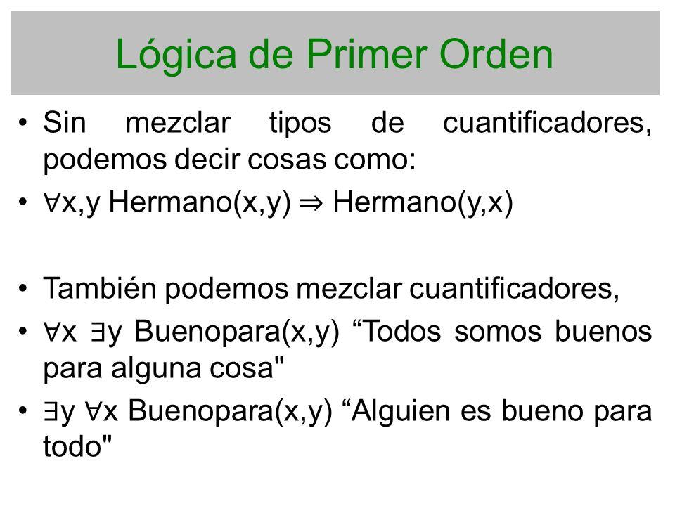 Lógica de Primer Orden Sin mezclar tipos de cuantificadores, podemos decir cosas como: ∀x,y Hermano(x,y) ⇒ Hermano(y,x)