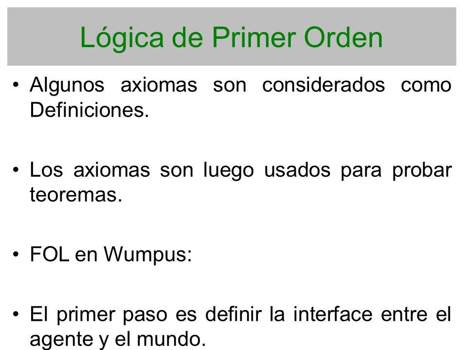 Lógica de Primer Orden Algunos axiomas son considerados como Definiciones. Los axiomas son luego usados para probar teoremas.